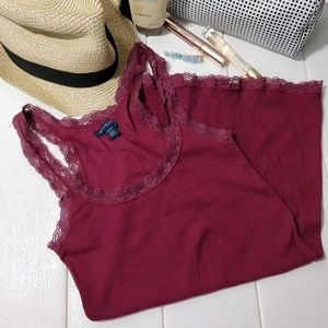 American Eagle Maroon lace tank top, Size XS